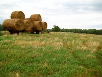 Moving round bales.